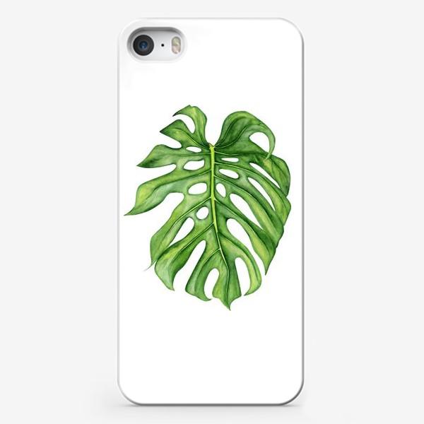 Чехол iPhone «Акварельный лист монстеры»