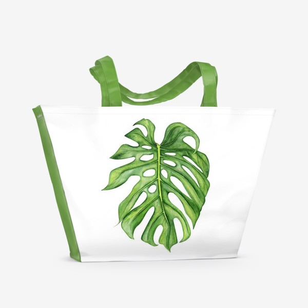 Пляжная сумка «Акварельный лист монстеры»