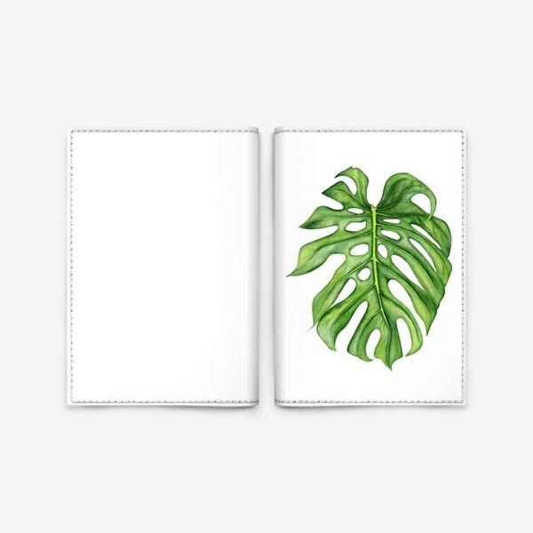 Обложка для паспорта «Акварельный лист монстеры»