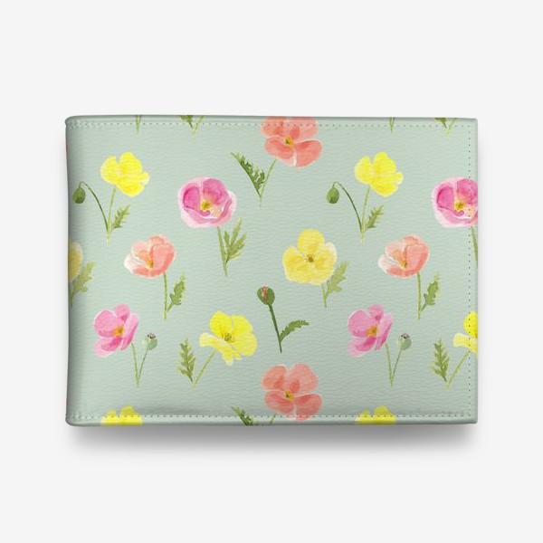 Кошелек «Цветущие маки. Акварельный летний растительный принт на зеленом фоне»