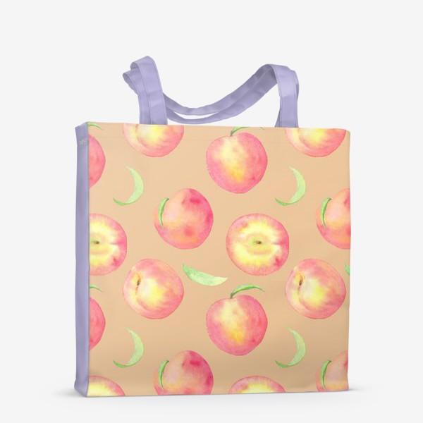 Сумка-шоппер «Сладкие персики. Летний акварельный принт с фруктами на бежевом фоне.»