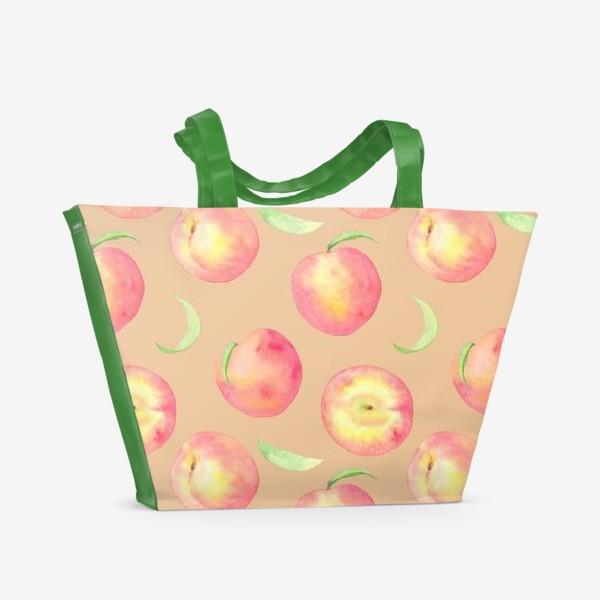 Пляжная сумка «Сладкие персики. Летний акварельный принт с фруктами на бежевом фоне.»
