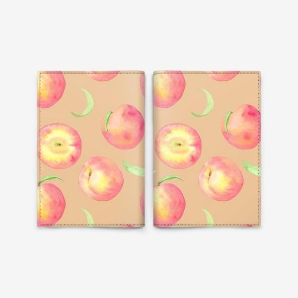 Обложка для паспорта «Сладкие персики. Летний акварельный принт с фруктами на бежевом фоне.»