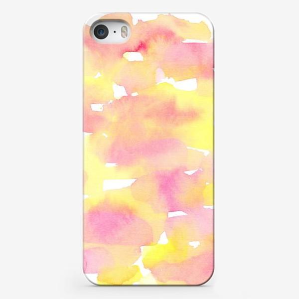 Чехол iPhone «Акварельный  летний принт, абстрактные пятна розовые, желтые, оранжевые, кораловые  на белом фоне»