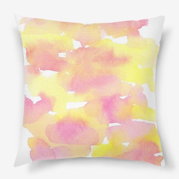 Подушка «Акварельный  летний принт, абстрактные пятна розовые, желтые, оранжевые, кораловые  на белом фоне»