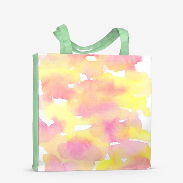 Сумка-шоппер «Акварельный  летний принт, абстрактные пятна розовые, желтые, оранжевые, кораловые  на белом фоне»