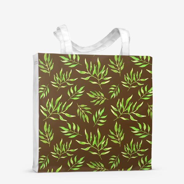 """Сумка-шоппер «Акварельный принт с природным мотивом """"Зеленые ветви"""" на коричневом фоне»"""