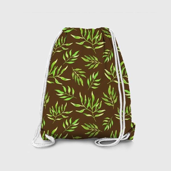 """Рюкзак «Акварельный принт с природным мотивом """"Зеленые ветви"""" на коричневом фоне»"""