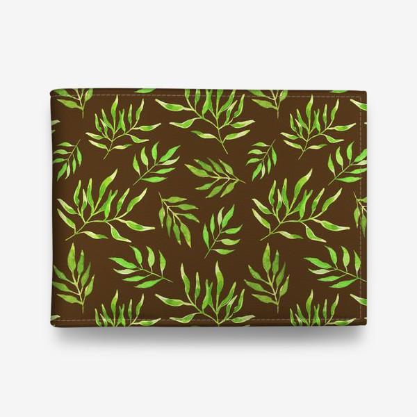 """Кошелек «Акварельный принт с природным мотивом """"Зеленые ветви"""" на коричневом фоне»"""
