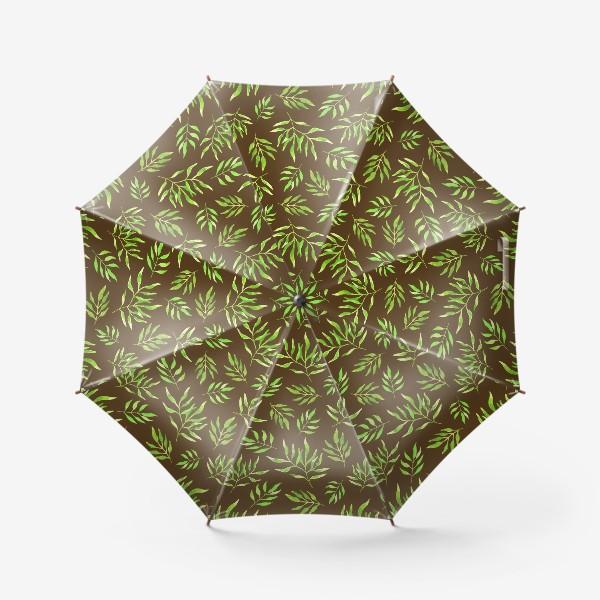 """Зонт «Акварельный принт с природным мотивом """"Зеленые ветви"""" на коричневом фоне»"""