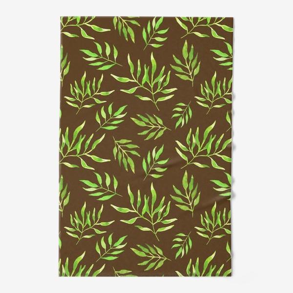 """Полотенце «Акварельный принт с природным мотивом """"Зеленые ветви"""" на коричневом фоне»"""