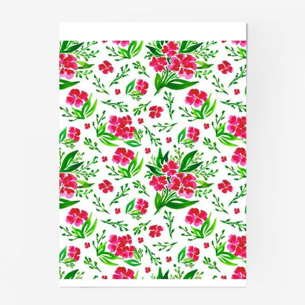 Постер «Акварельный цветочный принт на белом фоне»