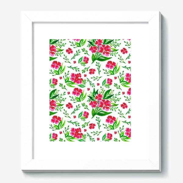 Картина «Акварельный цветочный принт на белом фоне»