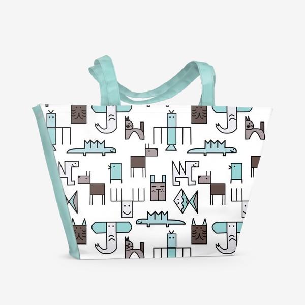 Пляжная сумка « Геометрические животные »