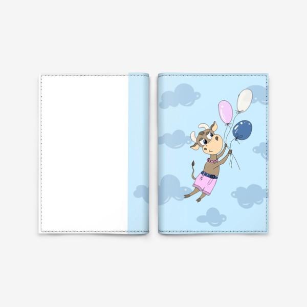 Обложка для паспорта «Коровка на воздушных шариках (подарок девочке тельцу) »