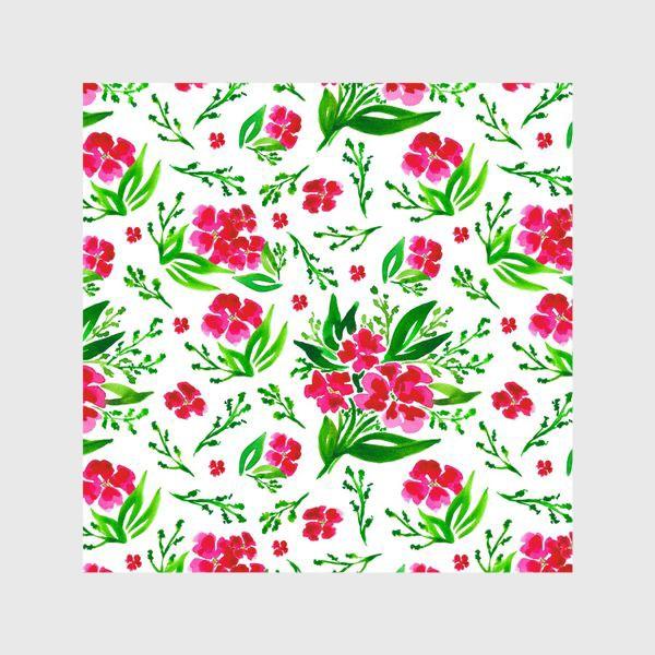 Шторы «Акварельный цветочный принт на белом фоне»