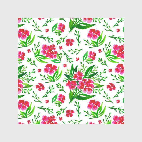 Скатерть «Акварельный цветочный принт на белом фоне»