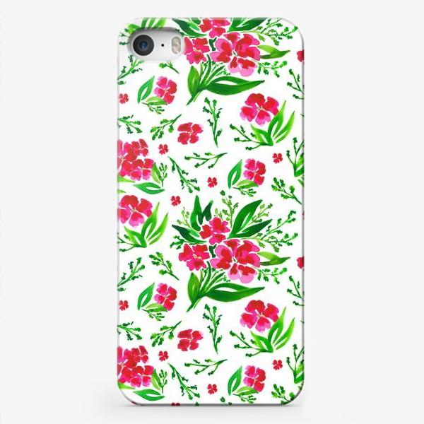 Чехол iPhone «Акварельный цветочный принт на белом фоне»
