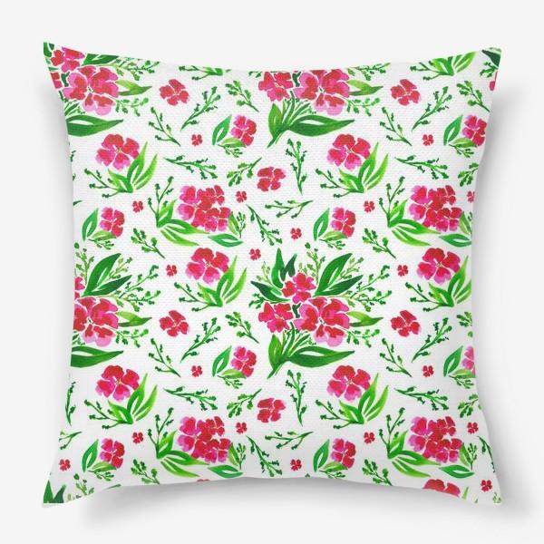 Подушка «Акварельный цветочный принт на белом фоне»