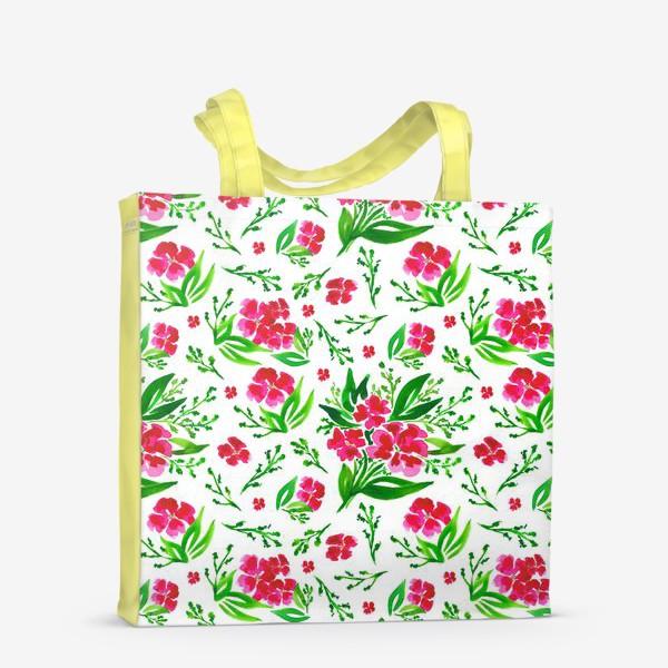 Сумка-шоппер «Акварельный цветочный принт на белом фоне»