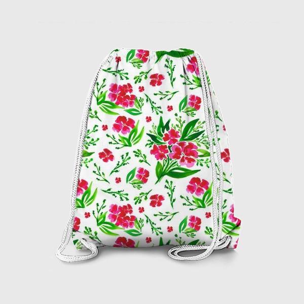 Рюкзак «Акварельный цветочный принт на белом фоне»