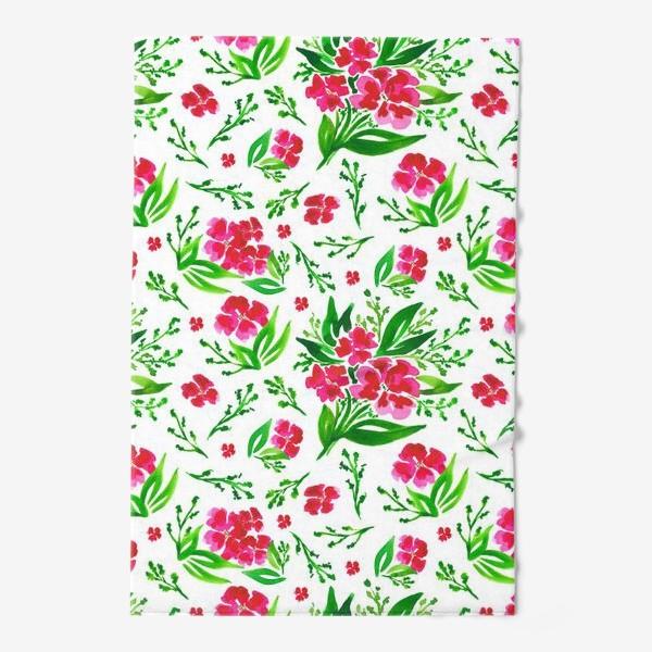 Полотенце «Акварельный цветочный принт на белом фоне»