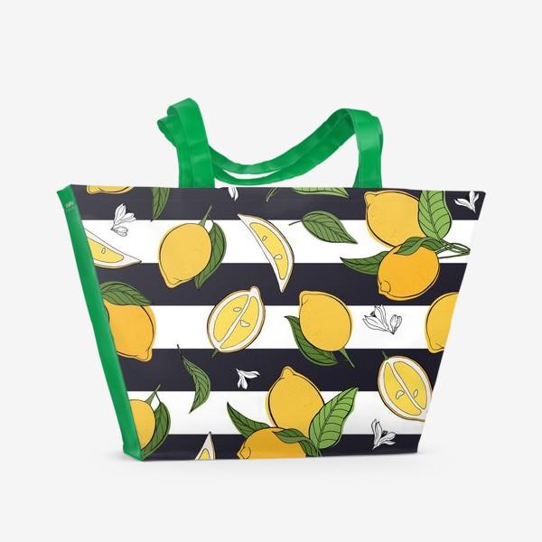 Пляжная сумка «Принт с лимонами на полосатом фоне»