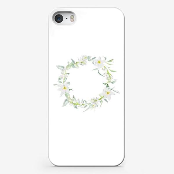 Чехол iPhone «Весенний акварельный венок с нарциссами и ландышами»