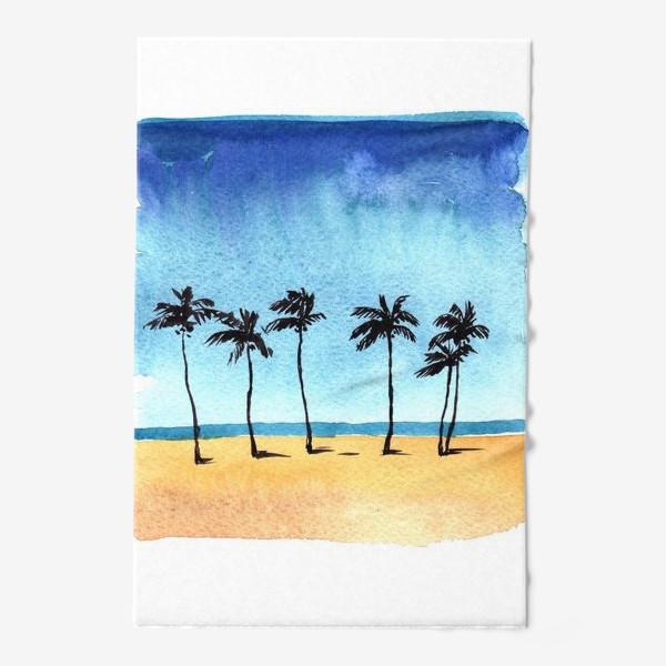 Полотенце «акварель пляж с пальмами»