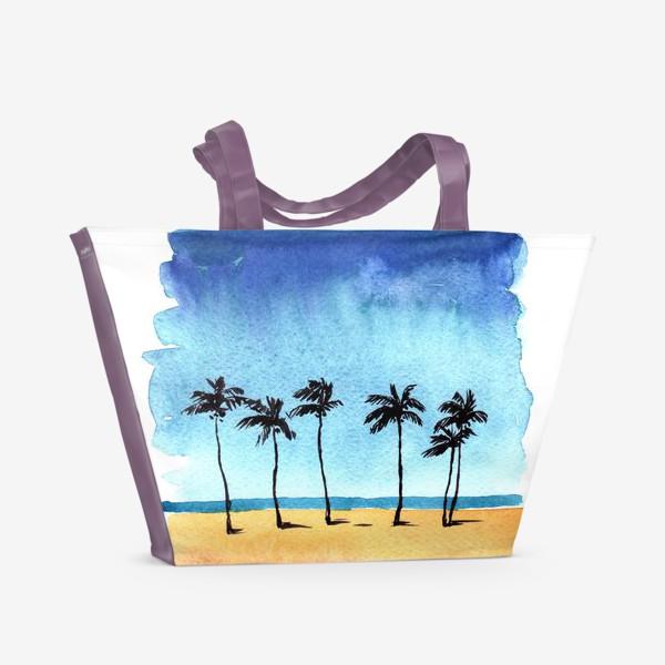 Пляжная сумка «акварель пляж с пальмами»