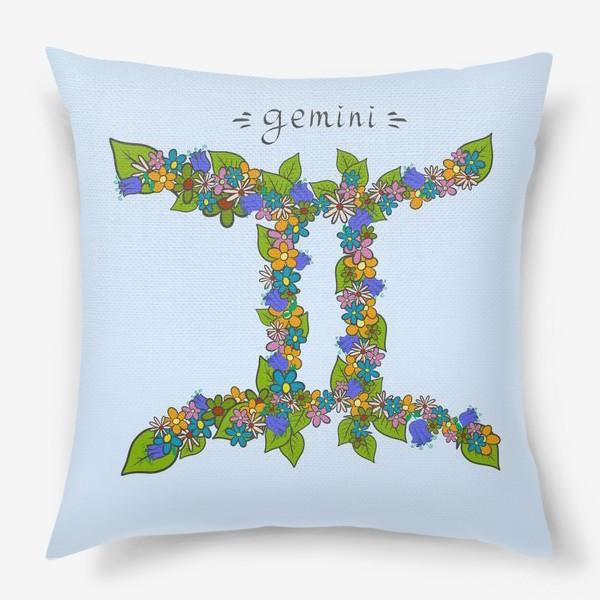 Подушка «Подарок Близнецам. Знак зодиака на голубом фоне.»