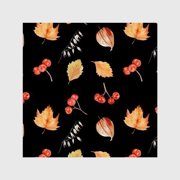 Шторы «Орнамент с осенними растениями на черном»