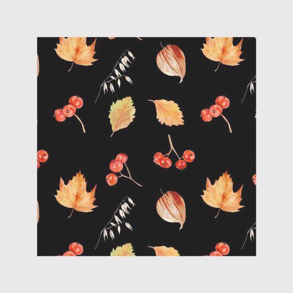Скатерть «Орнамент с осенними растениями на черном»