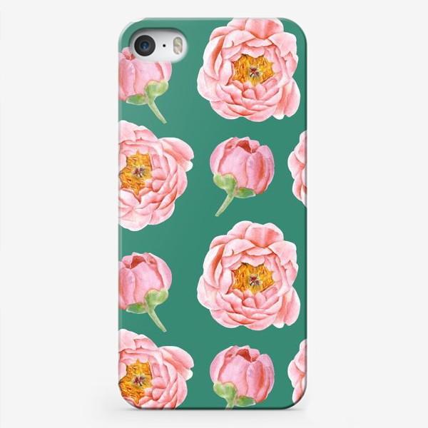 Чехол iPhone «Узор с розовыми пионами на изумрудном»