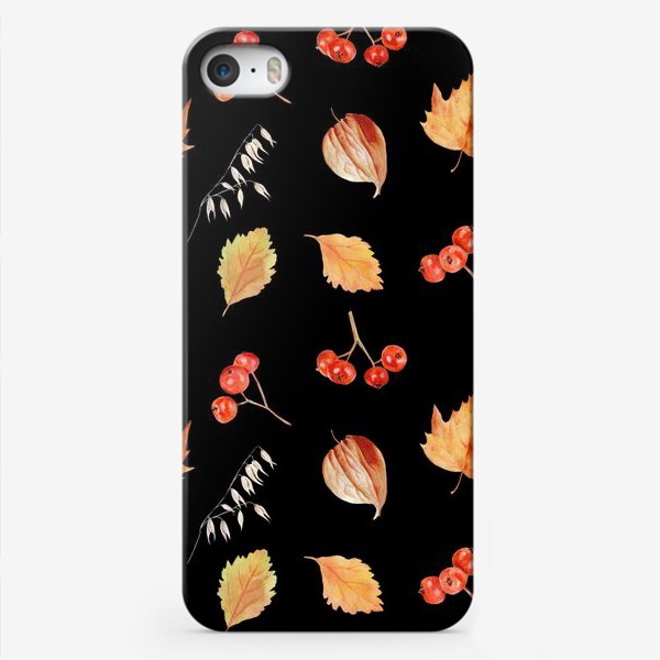 Чехол iPhone «Орнамент с осенними растениями на черном»