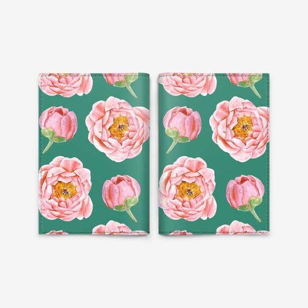 Обложка для паспорта «Узор с розовыми пионами на изумрудном»