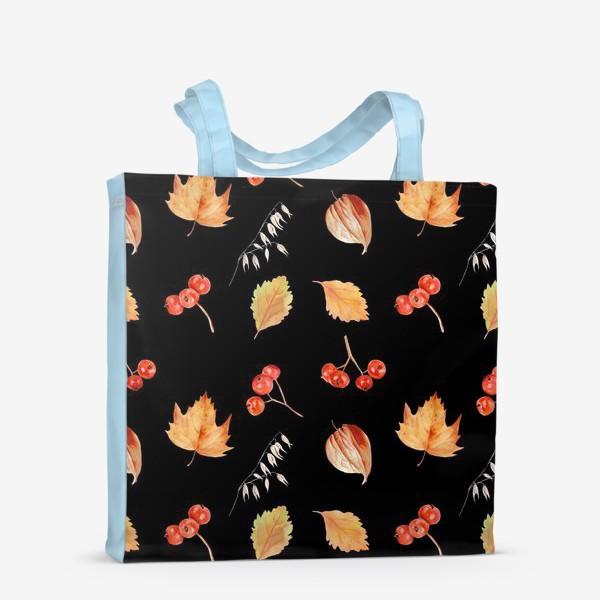 Сумка-шоппер «Орнамент с осенними растениями на черном»
