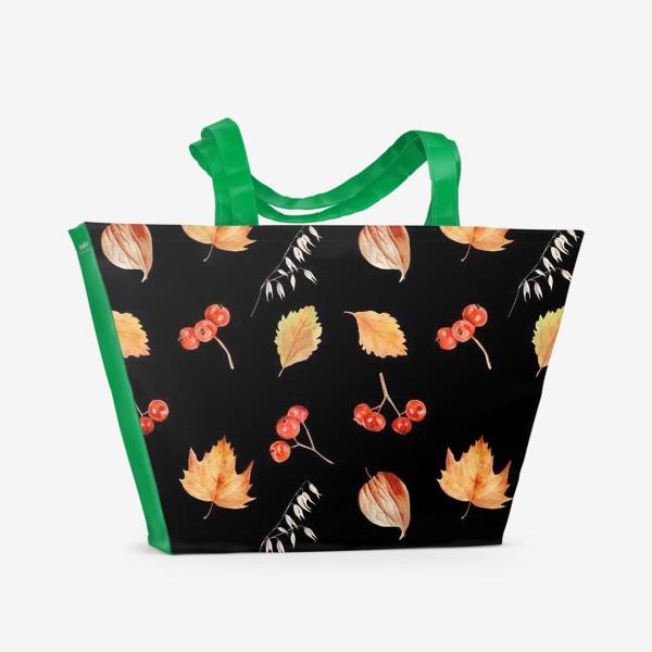 Пляжная сумка «Орнамент с осенними растениями на черном»