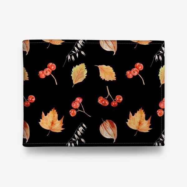 Кошелек «Орнамент с осенними растениями на черном»