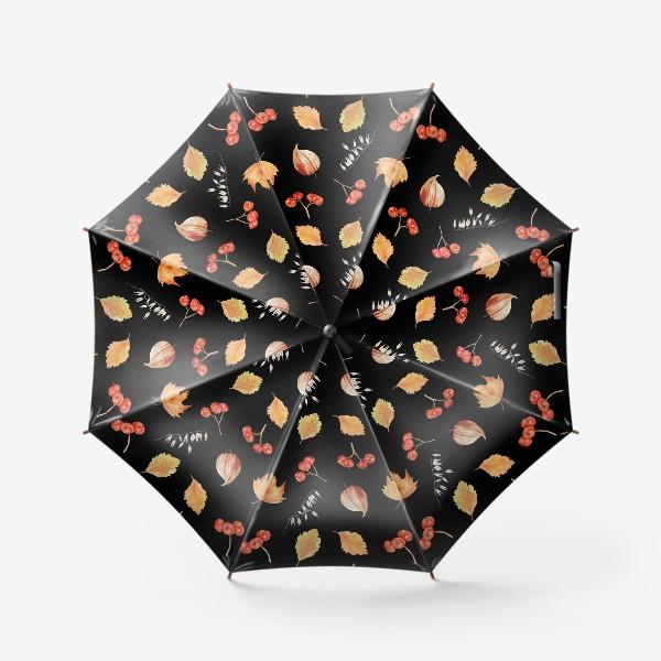 Зонт «Орнамент с осенними растениями на черном»