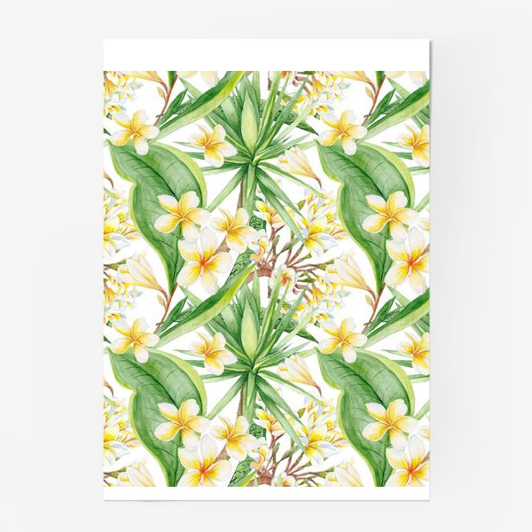 Постер «Тропический акварельный паттерн с юккой и плюмерией»