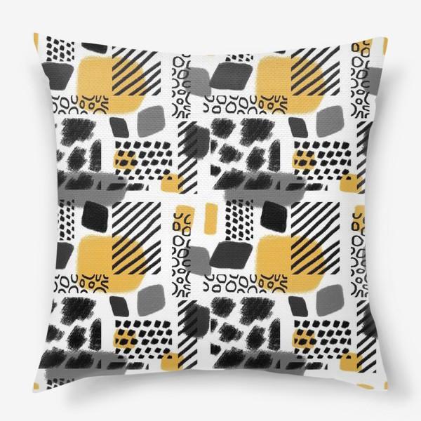 Подушка «Абстрактная черно-белая графика »