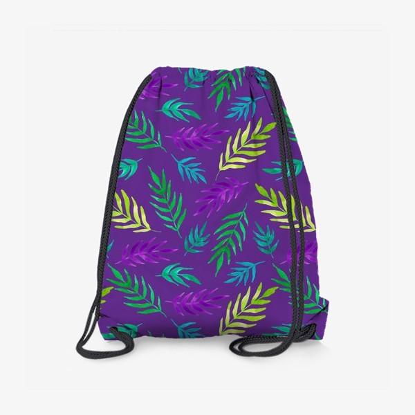 Рюкзак «Тропический принт на фиолетовом фоне»