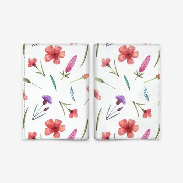 Обложка для паспорта «Полевые цветы на белом»