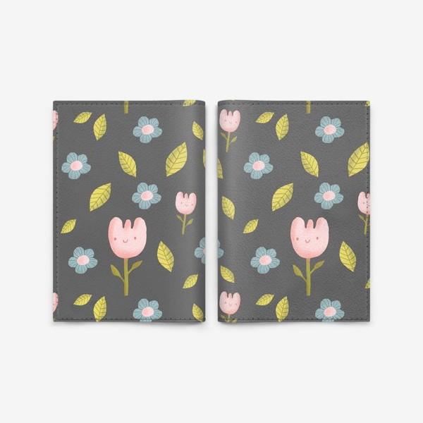 Обложка для паспорта «Милые цветы на сером»