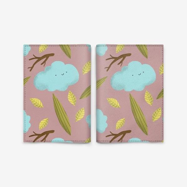 Обложка для паспорта «Облака, листья, ветки в розовом»