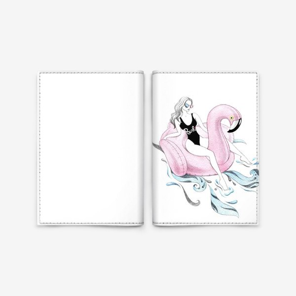 Обложка для паспорта «Фламинго (девушка, лето, пляж)»