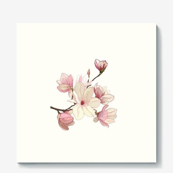 Холст «Цветы магнолии. Нежные и прекрасные.»