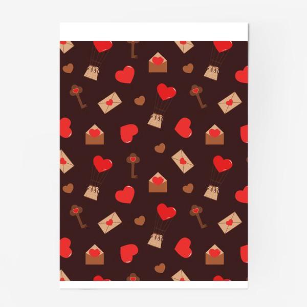Постер «паттерн сердечки, конверты, ключи, любовь»