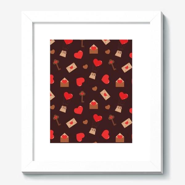 Картина «паттерн сердечки, конверты, ключи, любовь»